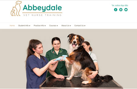 Website design & photography for Abbeydale Vet Nurse Training